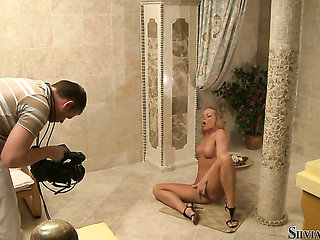 Silvia Saint opens her legs to fuck herself with toy