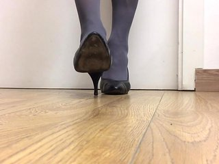 Pantyhose and heels playing 2