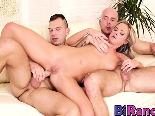 Vinna getting her wet pussy cooked as the bi dudes fuck...