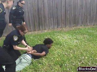 A black felon pleasures cop's pussy