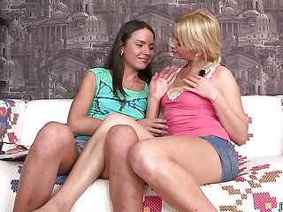 Tasty brown cock for two teen cuties