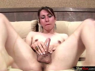 Dripping honey makes her thick shemale cock sticky and ...