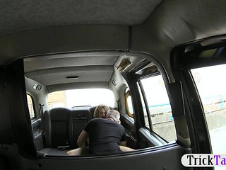 Tight blonde lady drilled in back of cab
