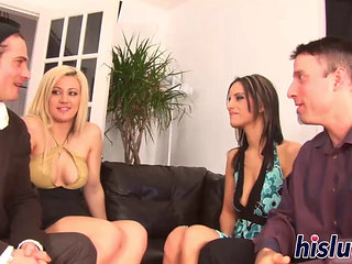 Hot Foursome Session With Two Ravishing Starlets