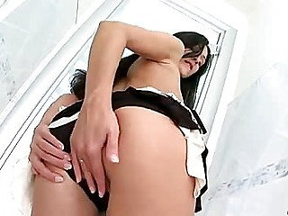 Tall beauty explores her tight pussy