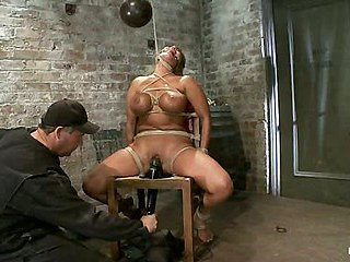 Classic HogtiedBig Titted MILF in the chairOrgasm after...