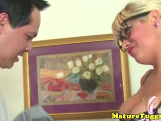Handjob Milf In Stockings And Glasses Jerking