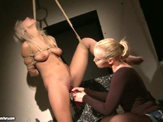 Kathia Nobili get dildo fuck while being tied with rope