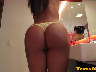 Tanlined latina tranny pounded in round ass