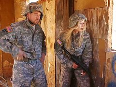 Blonde babe in military uniform gets fucked hardcore by...