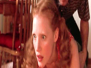 Jessica Chastain naked in a kitchen with the guy as he ...