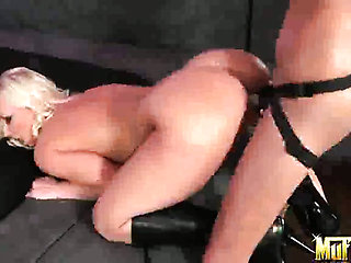 Blonde Molly Cavalli is curious about eating Raven Bays...