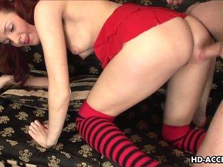 redhead babe enjoys hardcore anal