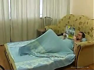 Brunette Teen Daughter Cleaning Bed Room Makes Old man ...