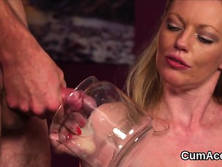Frisky honey gets jizz load on her face gulping all the...