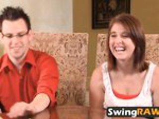 Swinger wife Sabrina sucks strapon dildo in front of hu...