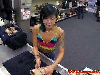 Petite asian pawnee gagging on brokers cock
