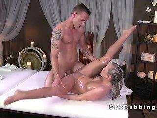 Blonde wanks masseurs cock till cumshot