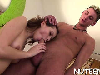 Vicious male cums on butt of his girlfriend after wild sex