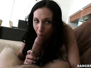 Brunette Bella Blaze cant wait to be poked by her horn...