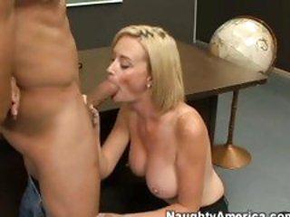 Lusty blonde teacher Camryn Cross takes a meaty shaft i...