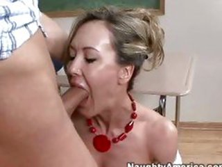 Sexy hot teacher Brandi Love gets her mouth attcked by ...