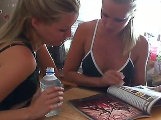 Lunch with two sexy blonde girlfriends Sandy and Sophie...