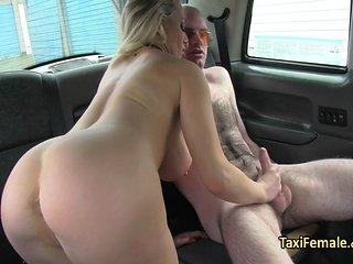 Big Tits Taxi Driver Fucks Dude