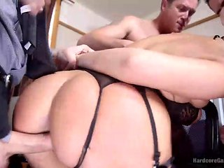 short-haired brunette gets banged