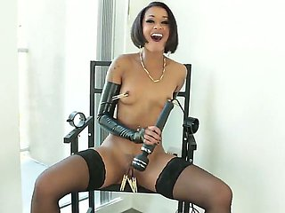Kinky ebony girl Skin Diamond plays with pegs and vibrator