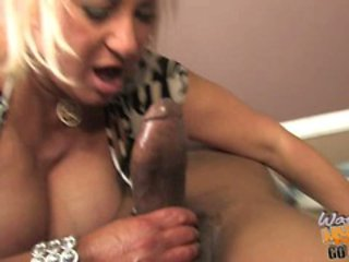 Filthy Dana Hayes rams a hard dick down her deep throat