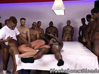 Teen gags on black cocks