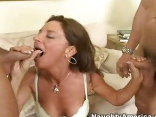 Hot momma Sarah Bricks takes one cock at a time in her ...