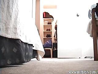 Spying my stepsister (19 y.) nude in her bedroom