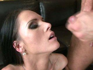 Horny honey Jennifer Dark gets a nice spurt of cum on h...