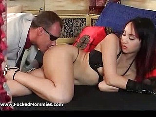 Small titted mommy gets holes rammed