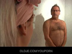 Horny young maid fucks old hotel customer