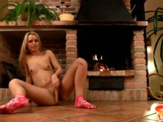 Sabrina Blond rubs her pussy with her huge sex toy
