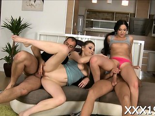 Ribald euro doxies organize excellent foursome sex session