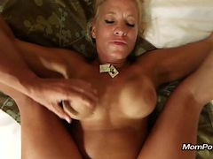 Big tits MILF get facial and creampie