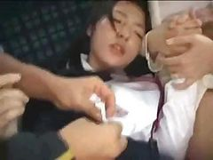 Asian mom and daughter are fucked on a public bus by cr...