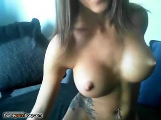 Busty cambabe with pointy hard nipples teasing
