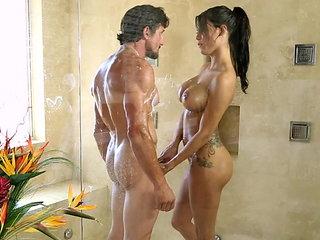 Hot video sex in a shower