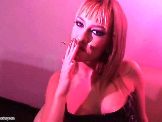 Blue Angel smoking a cigarette