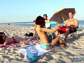 Hd  Teen Couple Public Beach Bait And Switch