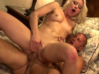 Blondie With Natural Boobs Enjoys Sittting On A Long Cock