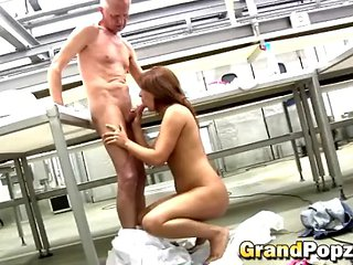 Teen Enjoying Sixty Nine With Old Guy In Kitchen