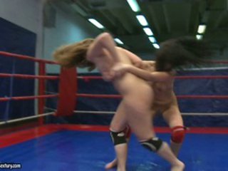 Lexy Little doing a hard nude fight in the ring