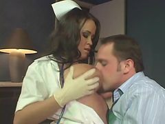 Nurse in latex gloves gives handjob and fucks