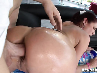 With big butt and shaved twat doing dirty things in ana...